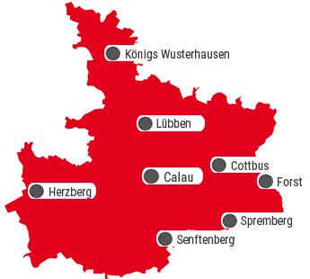 Das Innungsgebiet der Dachdecker-Innung Cottbus.